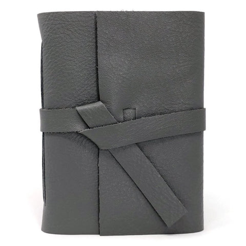 Front of slim Gray Leather Notebook