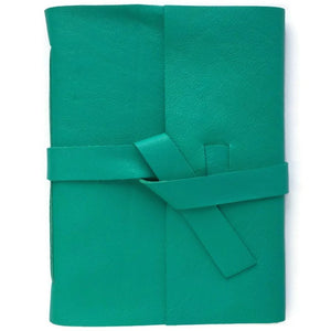 Sea Green Leather Notebook, Front View