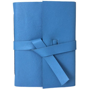 Sky Blue Leather Journal, Front View