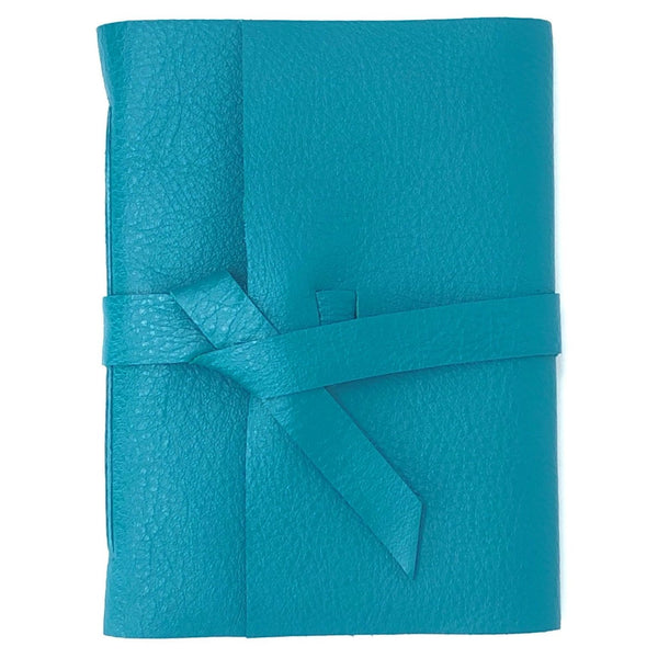 Front view of Teal Blue Slim Leather Journal Notebook