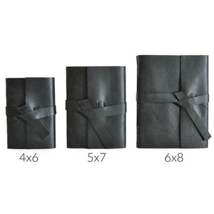 Black Leather Journal Size Chart Showing 4x6, 5x7, and 6x8 inch sized books to choose your journal size