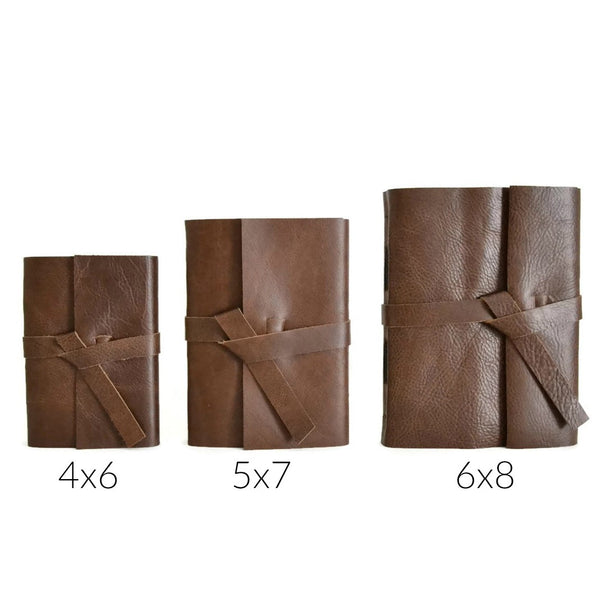 Size Comparison of 4x6, 5x7, and 6x8 inch leather journals, Choose Your Journal Size