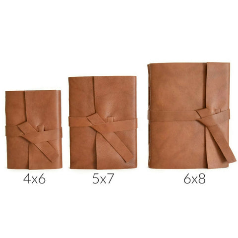 Choose Your Journal Size, Size Chart of 4x6, 5x7, and 6x8 inch leather journals