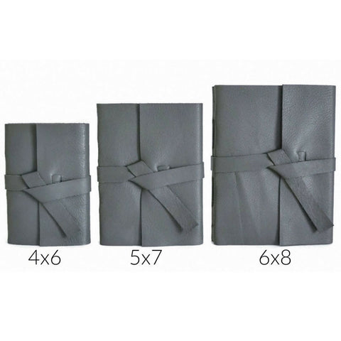 Gray Leather Journal Size Chart Showing 4x6, 5x7, and 6x8 inch sized books to choose your journal size