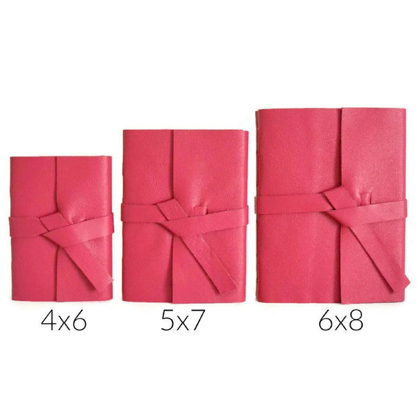 Pink Leather Journal Size Chart Showing 4x6, 5x7, and 6x8 inch sized books to choose your journal size