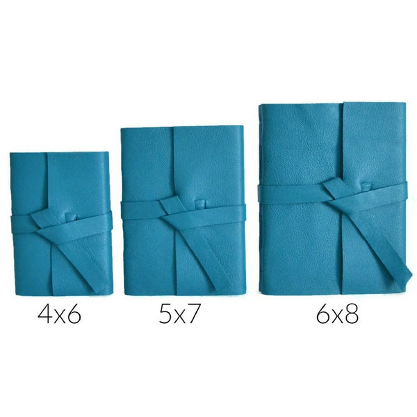 Teal Leather Journal Size Chart Showing 4x6, 5x7, and 6x8 inch sized books to choose your journal size
