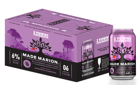 2 Towns Made Marion Blackberry Cider 6pk Cans