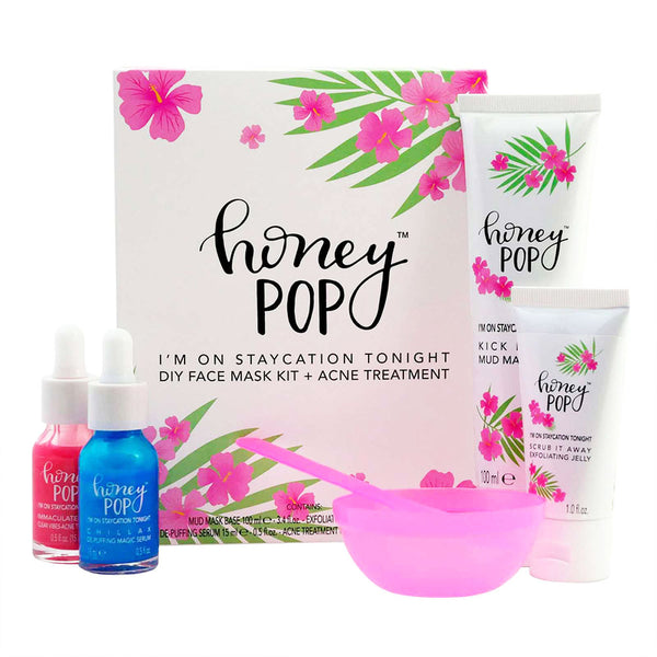Honey Pop DIY Face Mask Kit + Acne Treatment, includes clay mask, acne serum, depuffing serum, cleansing jelly and mixing bowl.