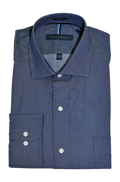 1db64be3c Tommy Hilfiger Men's Non Iron Regular Fit Check Spread Collar Dress Shirt