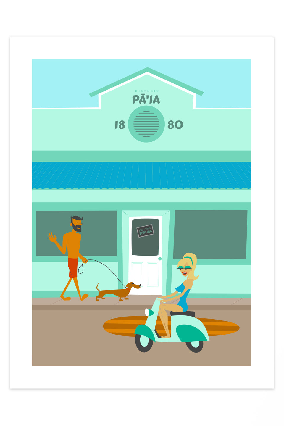 Pā'ia Town (Retro Hawaii Travel Poster)
