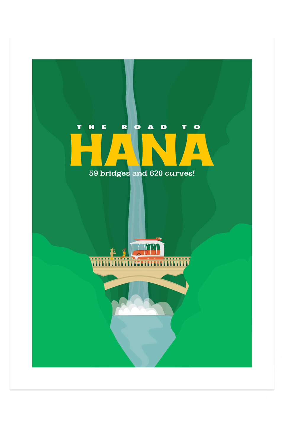 Road to Hana! (Retro Hawai'i Travel Poster)