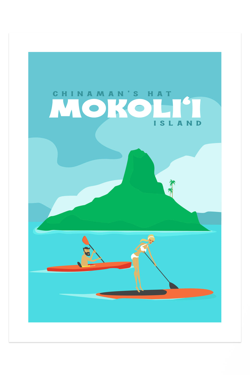 Mokoli'i Chinaman's Hat (Retro Hawai'i Travel Poster)