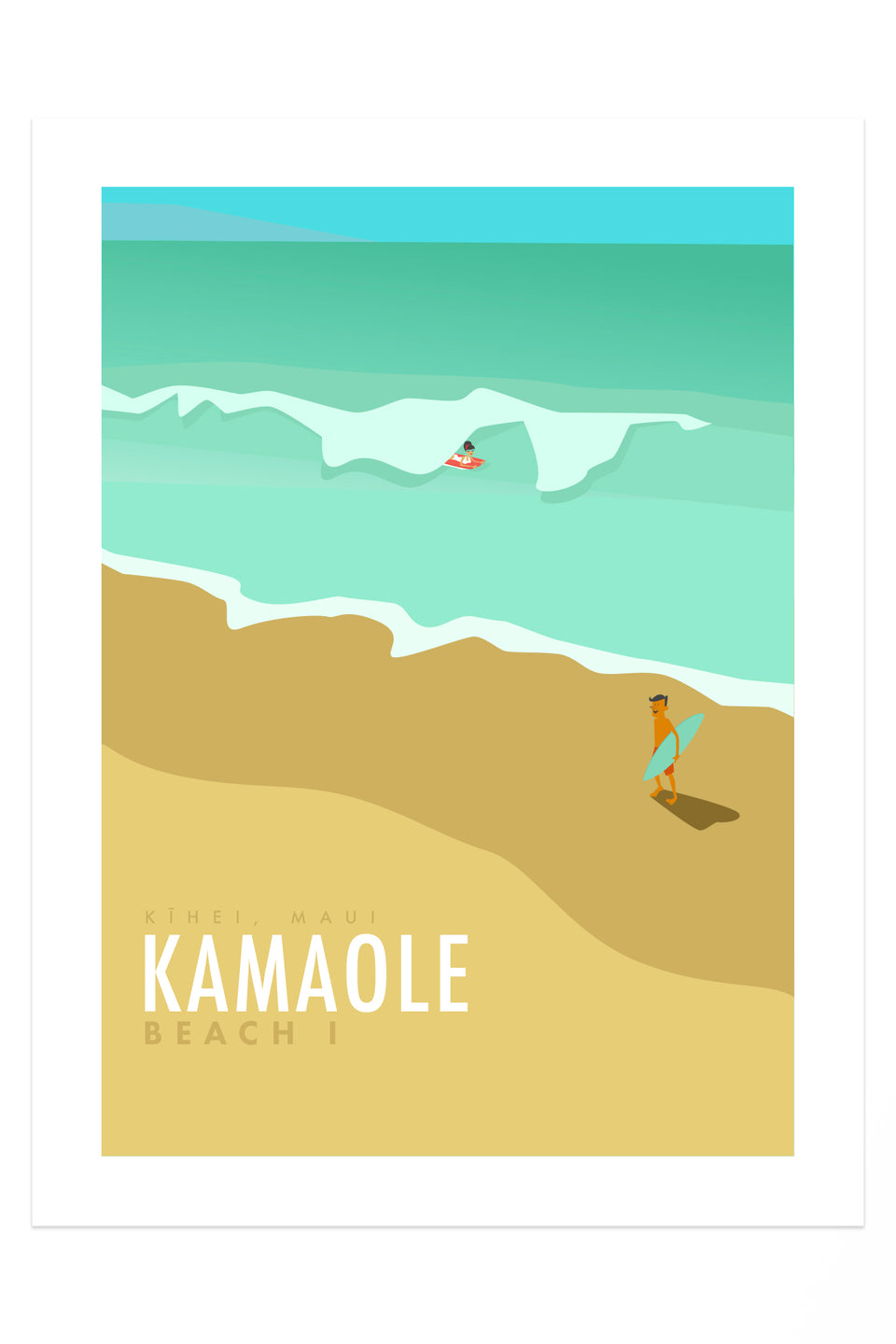 Kamaole Beach (Retro Hawai'i Travel Poster) Giclée Fine Art Print