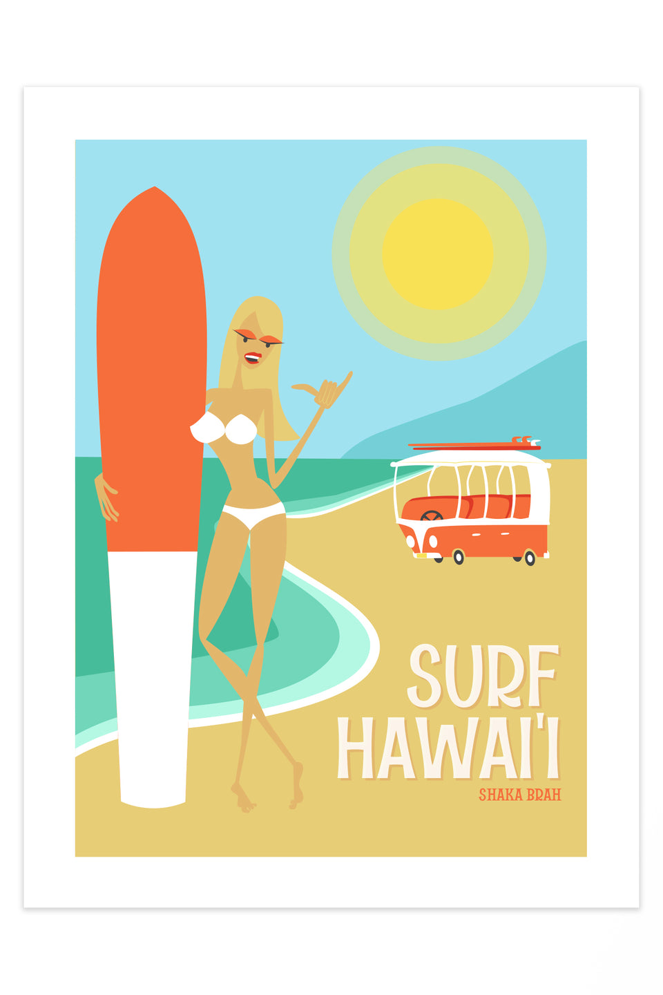 Surf Hawaii (Retro Hawaii Travel Poster)