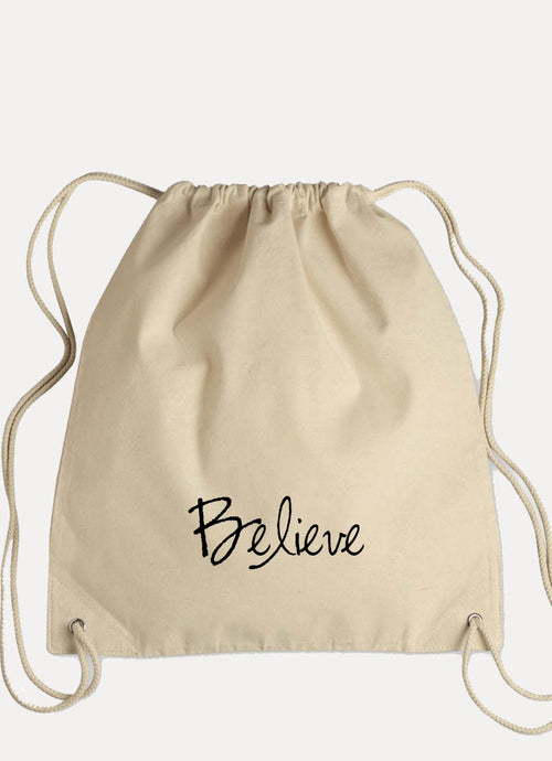 BELIEVE - Canvas Drawstring Backpack