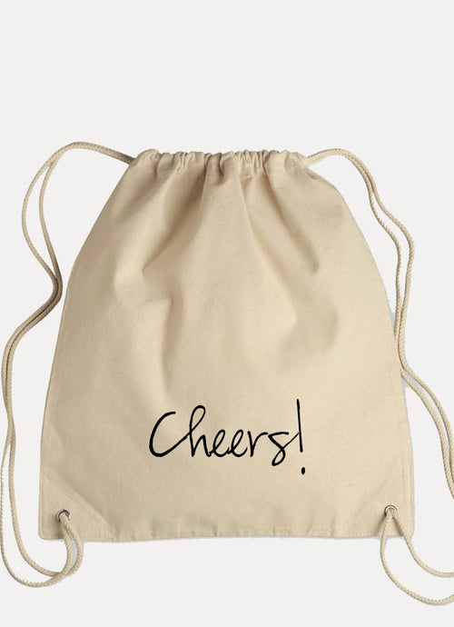 CHEERS! - Canvas Drawstring Backpack