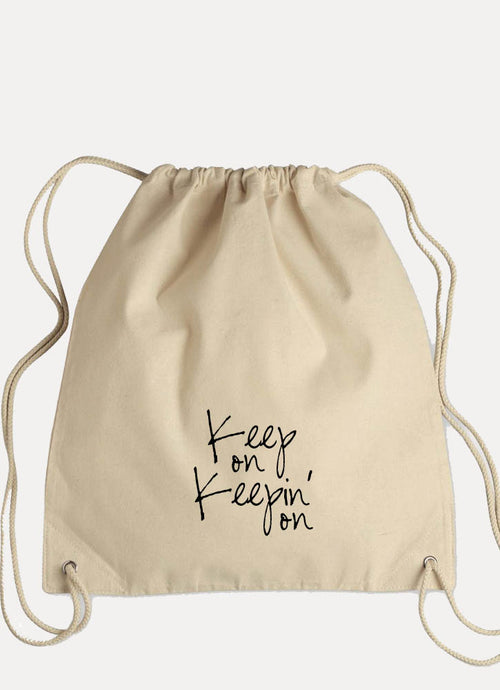 Keep On Keepin' On - Canvas Drawstring Backpack