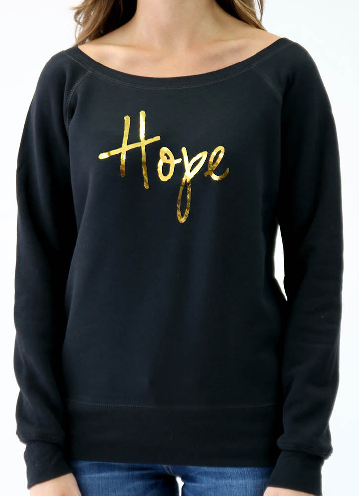 HOPE SPONGE FLEECE WIDENECK SWEATSHIRT