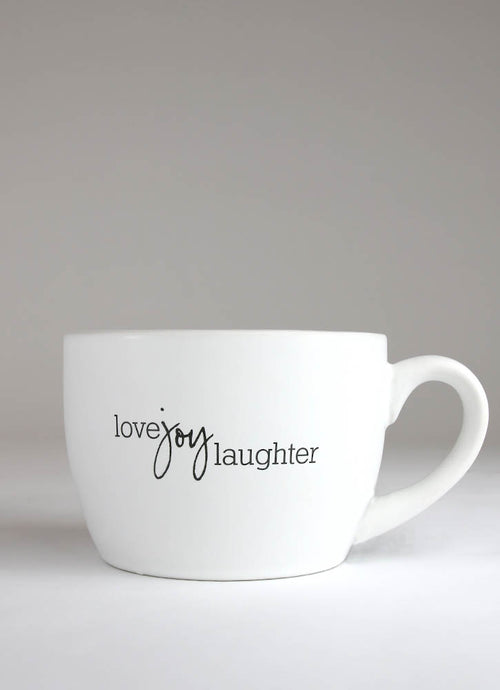 LOVE JOY LAUGHTER OVERSIZED CERAMIC MUG