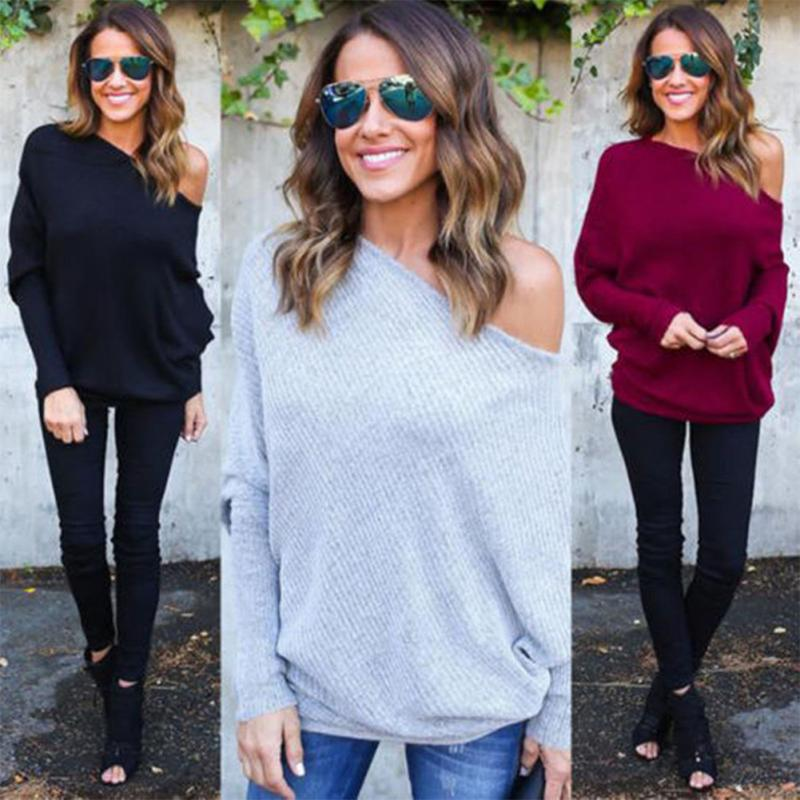 8008c3abf0835 Oversize Women Off Shoulder Batwing Sleeve Knit Sweater Tops Pullover  Outwear