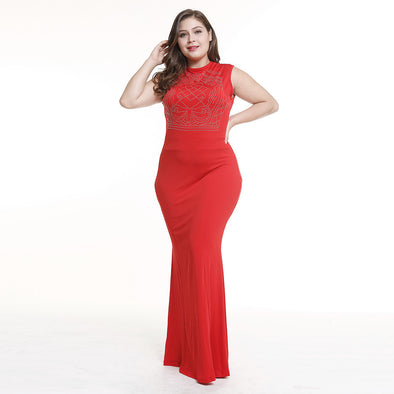 Red Party Dresses For Plus Size Women O Neck Sleeveless Sequined
