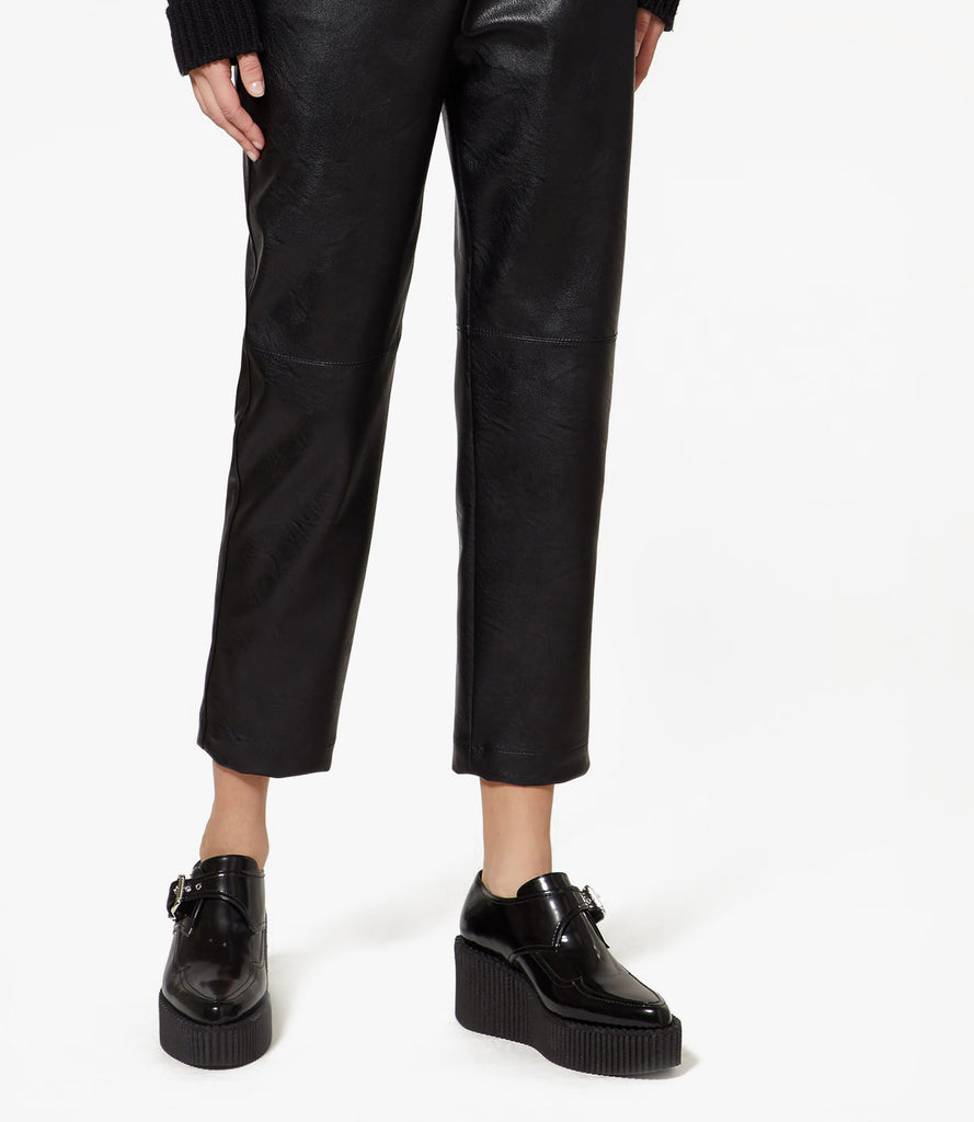 M Pfeiffer Black leather trousers