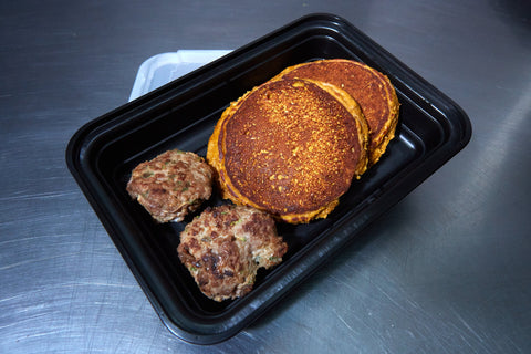 Pumpkin Spice Protein Pancakes with Breakfast Sausage - Meal Dealers