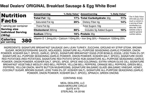 Egg White Strip Steak Sausage Bowl - Meal Dealers