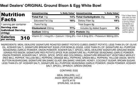 Egg White Bison Bowl - Meal Dealers