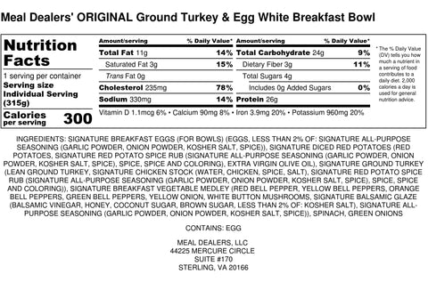 Egg White Ground Turkey Bowl - Meal Dealers