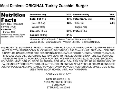 Turkey Zucchini Burger - Meal Dealers
