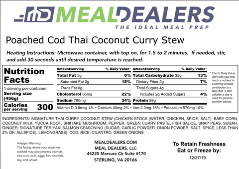 Poached Cod Thai Coconut Curry Stew - Meal Dealers