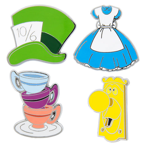 Disney Parks Alice in Wonderland 4 Piece Pin Trading Flair Set - ThemePark Warehouse