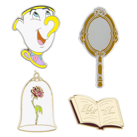 Disney Parks Beauty and the Beast 4 Piece Pin Trading Flair Set - ThemePark Warehouse
