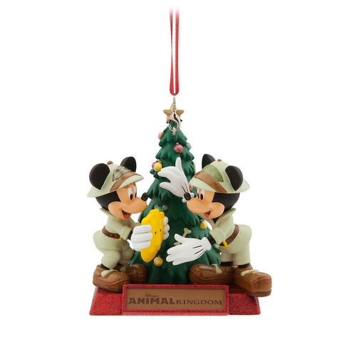 Disney World Animal Kingdom Mickey and Minnie Mouse Holiday Christmas Ornament - ThemePark Warehouse