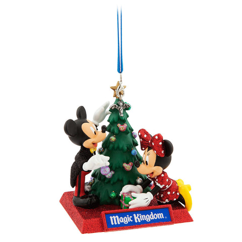 Disney World Magic Kingdom Mickey and Minnie Mouse Holiday Christmas Ornament - ThemePark Warehouse