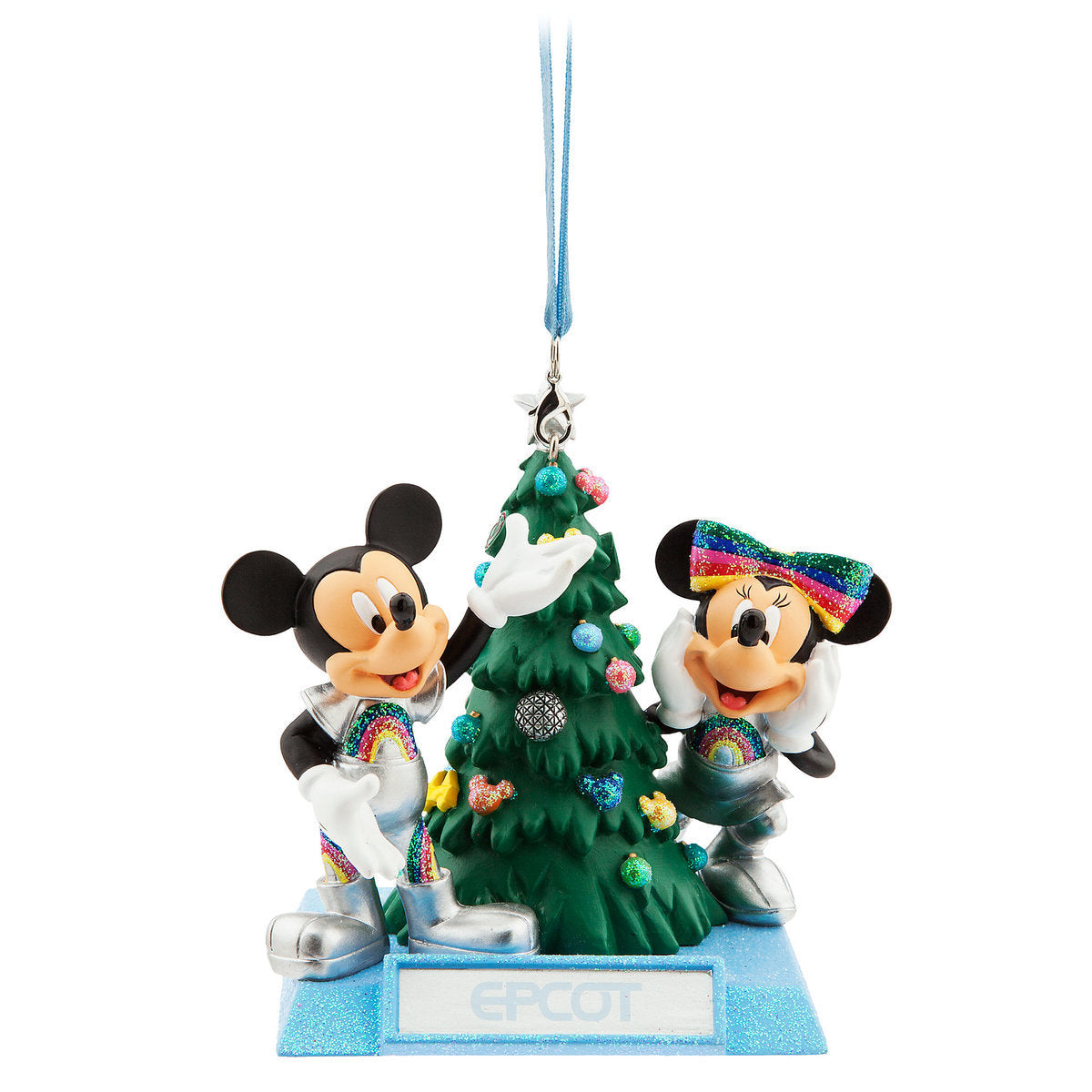 disney world epcot mickey and minnie mouse holiday christmas ornament themepark warehouse
