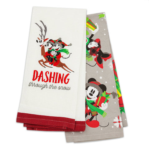 Disney Parks Santa Mickey Mouse and Friends 2 Pc. Kitchen Towel Set - ThemePark Warehouse