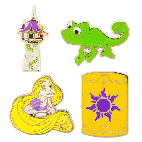 Disney Parks Rapunzel Tangled 4 Piece Pin Trading Flair Set - ThemePark Warehouse