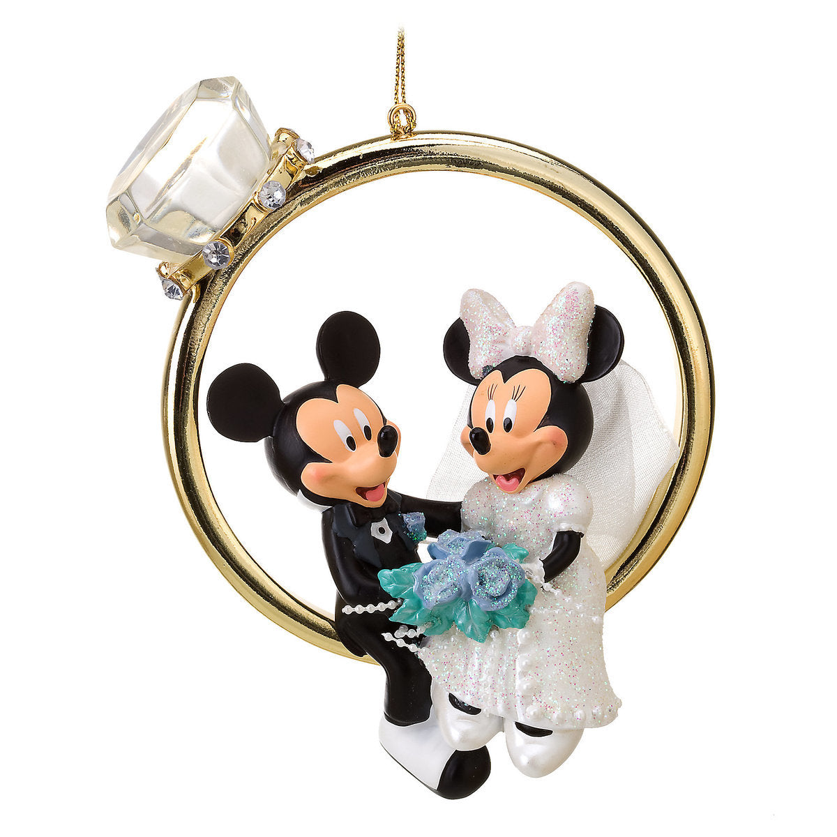 Disney Parks Minnie and Mickey Mouse Wedding Ring Ornament ...