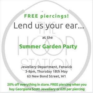 FREE Piercings At Fenwick Bond Street In Association With THE HOOP STATION!