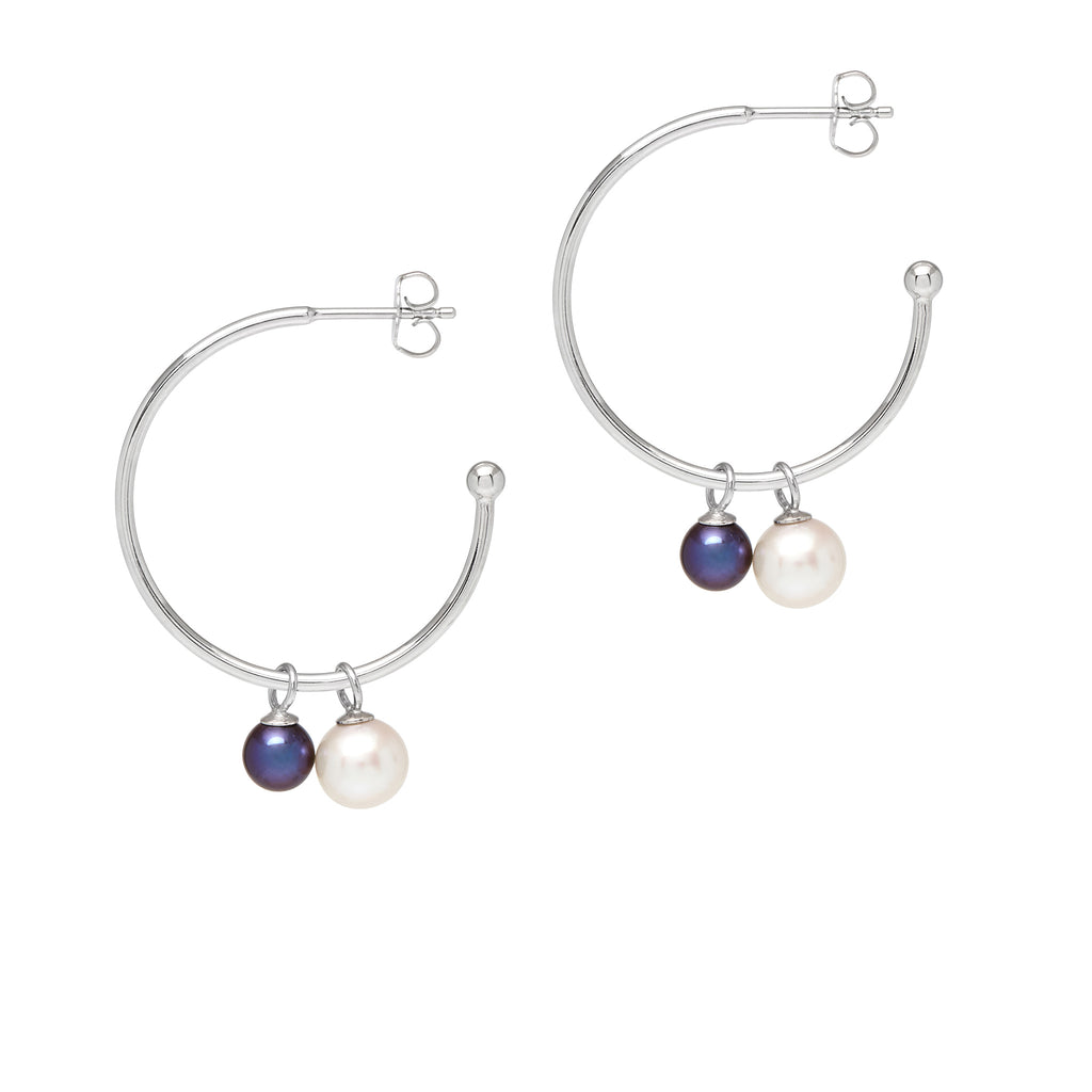 La 2 TONO PERLA Hoops - SALE - Georgiana Scott Jewellery