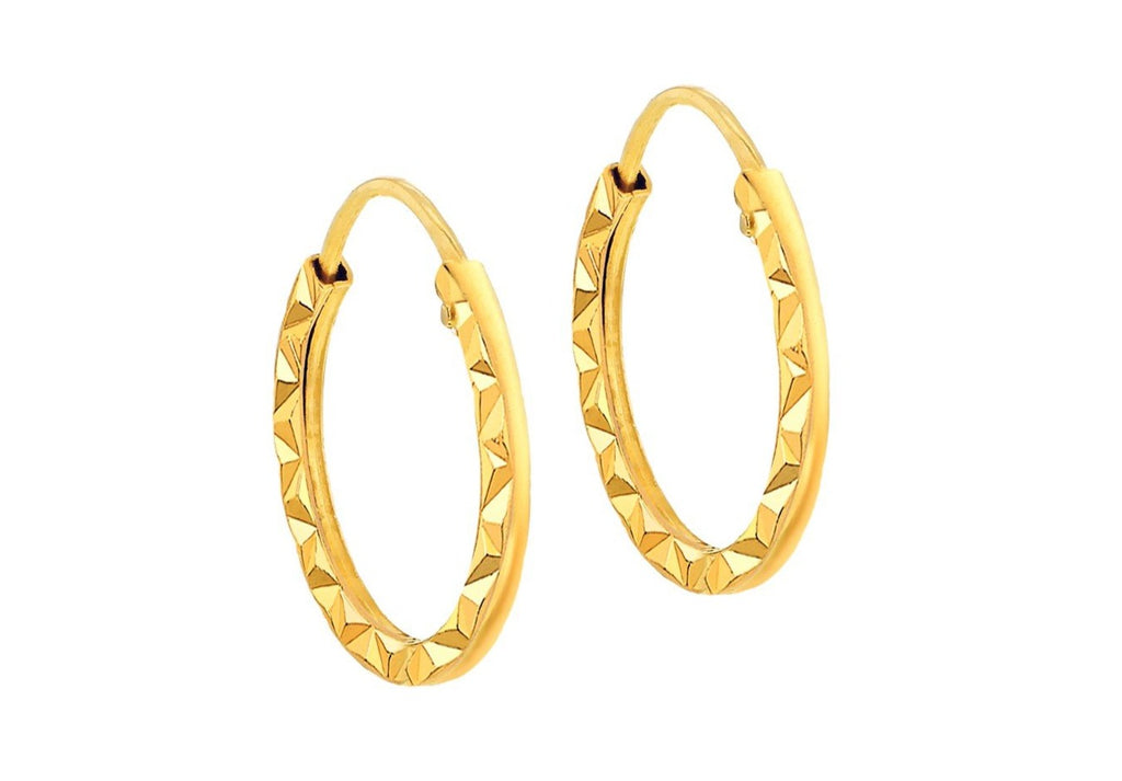 La CHISELLED ORO - (9 carat gold) Huggies - 2 x sizes - Georgiana Scott Jewellery