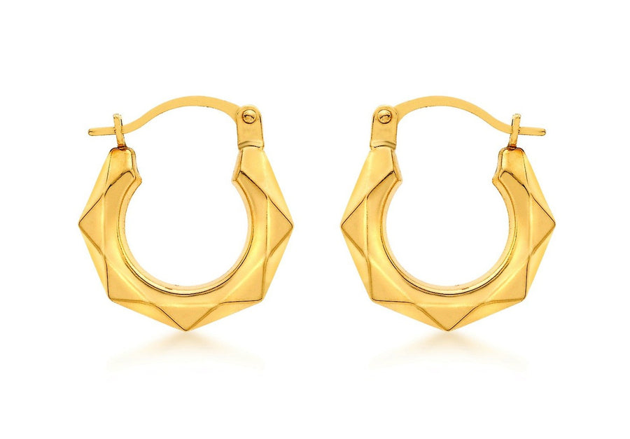 La HEXAGON (9 carat gold) Huggies - Georgiana Scott Jewellery