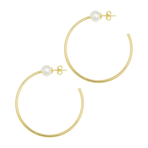 Pearls on hoops, hoop earrings with pearls, fashion hoop earrings, Swarovski pearls