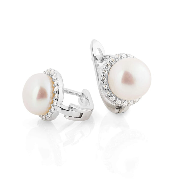 La CLASICO - Pearl Earrings with CZ stones
