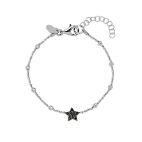 La STELLA Bracelet - Black star charm on silver