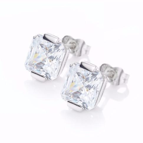 La SQUARE CUT Studs - 18k White Gold