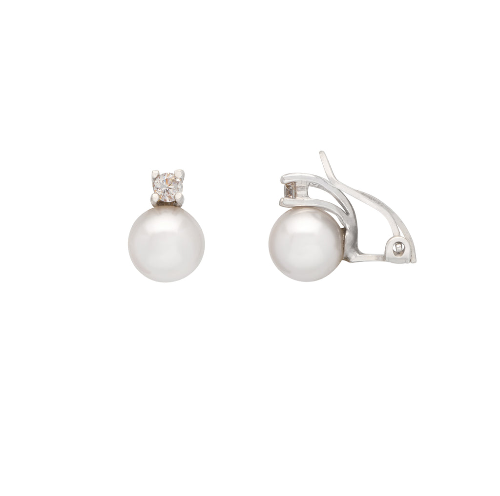 La CZ Clip-Ons Pearl Earrings - Georgiana Scott Jewellery