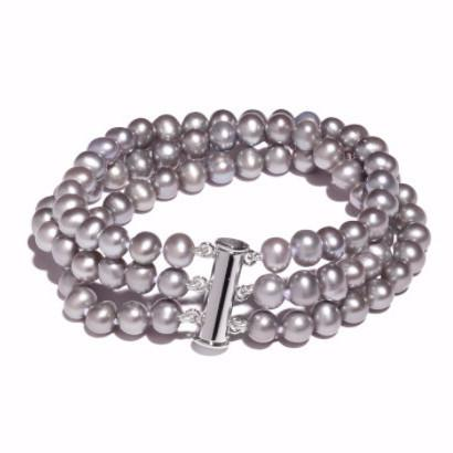 La STRIP Closure Pearl Bracelet - Dove Grey